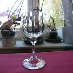 1 Glass To Wine White Crystal Carved Daum Model Verona H 5 1/8in