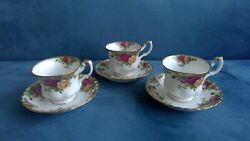 Royal Albert Old Country Roses 3 Tea Cups And Saucers 30.00 For 3