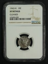 1942/1 Mercury Silver Dime Ngc Xf Details - Cleaned