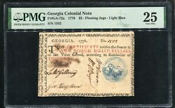 Ga-72a 1776 2 Andldquofloating Jugsandrdquo Georgia Colonial Currency Note Pmg Vf-25 Rare