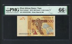 West African 500 Francs 2019 Pnew Uncirculated Graded 66