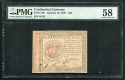 Cc-98 January 14,1779 55 Fifty Five Dollars Continental Currency Note Pmg Au-58