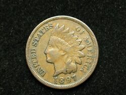 Blow Out Sale Xf 1897 Indian Head Cent Penny W/ Diamonds And Full Liberty 74e