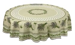 French Provencal 100 Cotton Tablecloth Olives And Lavender Round 71 Made France