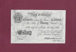 Great Britain Bank Of England 20 Pounds 1933 P-330 Ef Rare