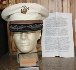 Wwii Usmc Lt. Col. Iand039d White Summer Hat Size 7 1/8 Served At Guadalcanal