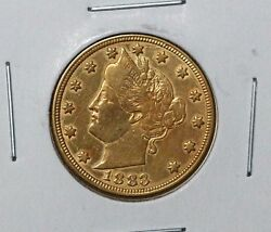 1883 5c No Cents Liberty Nickel Racketeer Nickel Gold Plated