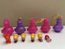 Nice Lot Of 5 Shimmer And Shine Teenie Genie Bottles W/ 6 Figures, Unknown Series