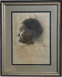 Antique Original Portrait Drawing Old Native Woman Signed Mary Jenks Coulter