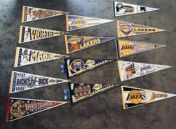 Lot Of 14 Vintage 1980s 1990s Nba Los Angeles Lakers Pennant Championship Flags