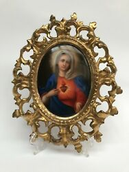 Antique Firenze Italian Porcelain Oval Plaque Immaculate Heart Of Mary
