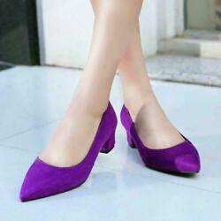 Womens Slip On Pointed Toe Purple Chunky Heel Court Pump Shoes Oversize 50/48/54