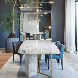 79 Inches White Faux Marble Dining Table Rectangle Table Metalandfaux Marble Base