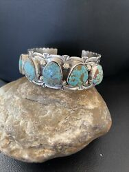 Nwot Native Navajo Sterling Silver Blue Turquoise8 Cuff Bracelet 5 Stone 01884