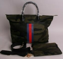 Pbk X Mark And Graham Striped Diaper Bag Camo Navy And Red Pottery Barn Kids