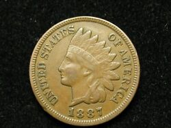 Spring Sale Xf 1887 Indian Head Cent Penny W/ Diamonds And Full Liberty 58k