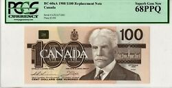 Canada 100 Dollars 1988, P-99a Bc-60aa - Replacement - Pcgs 68