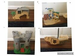 Lot Vtg 1994-1996 Fisher Price Ship Island Western Town Castle