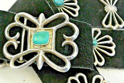 11.7ozt. Navajo Concho Belt 12 Pcs. Tufa Cast Sterling Silver Turquoise Buckle