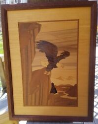 Hudson River Inlay Nelson Vintage Wooden Marquetry Eagle 12 1/2 X 9 1/2