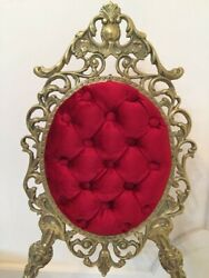 Louis Xv Restored Antique Bronze Chair/bench And Table Optional Red Velvet Finish