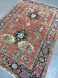 Old Antique Handmade Her Iz He Ris Wool Rug Carpetshabby Chicsize7.4 By 5.3ft