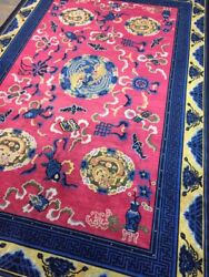 Antique Handmade Chinese Art Deco Wool Rug Carpet Shabby Chic,size9.8 By 6.5 Ft