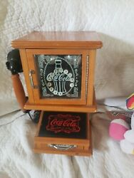 Coca-cola Nostalgic Wall Phone Real Wood Frosted Glass Hanging Retro