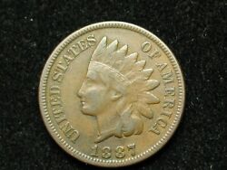 Blow Out Sale Very Fine 1887 Indian Head Cent Penny W/ Partial Liberty 61k