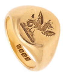 British 1917 Antique Signed Seal Ring In 18 Kt Gold With Incuse Griffin Terrific