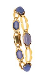 French 1930 Art Deco Bracelet In 18 Kt Gold With 35 Ctw Of Blue Chalcedony Rare