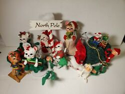 Annalee Lot Of 11 Dolls Christmas Mice And Elves Look