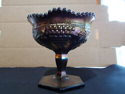 Northwood Amethyst Grape And Cable Sweetmeat Carnival Glass Compote No Lid