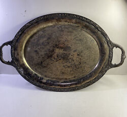 Vintage Large 26 Heavy Oval Victorian Rose Butlerand039s Serving Tray Wm. Rogers