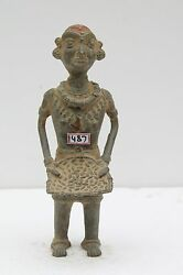 Old Brass Indian Tribal Bastar Grinding Lady Figurine Statue Rich Patina Nh1487