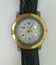 Cherokee Mens Boys Wrist Watch Water Resistant Brown Leather Band Euc Working