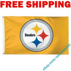 Deluxe Pittsburgh Steelers Logo Flag Banner 3x5 Ft 2021 Nfl Fan Home Decor New