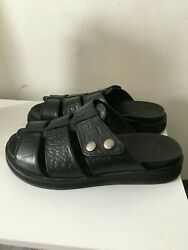 h By Hudson Size 36/6 Black Leather Croc Sandles Wide/thick Feet