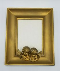 Vintage Gold Picture Frame W/ Angels Cherubs Italy 4x6 Nice