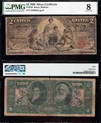 1896 2 Educational Silver Certificate Pmg 8 Free Shipping 15498394