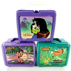 Vintage Disney Plastic Lunch Boxes Lot Of 3 No Thermos Lion King, Aladdin, Mulan