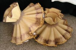 2 Atq Vintage Fabric Ruffle Ballerina Wire Frame Tulle Scallop Lamp Shade Pair