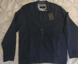 Nwt 199 Ted Baker Mens L/s Quilted Jacquard Bomber Full Zip Jacket Navy 6 / Xxl