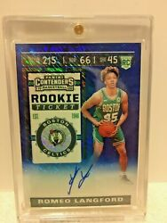2019-20 Prizm Contenders Romeo Langford Rookie Ticket Blue Shimmer Auto 01/20