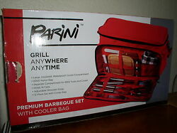 Parini Premium Bbq Barbeque Set W/cooler Bag Grill Anywhere Anytime -new In Box