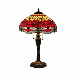 Speculo Lighting Style T2able Lamp W16h25 Inch Red Dragonfly Stained ...