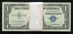Lot Of 100 1957 1 One Dollar Blue Seal Silver Certificates Uncirculated B