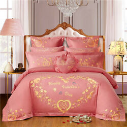 High-grade Pure Cotton Four-piece Cotton Pink Embroidered Bedding Bedding Set