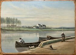 School French 19andegraveme Century - View Banks - Oil On Paper / Postmarks And Ins