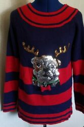 Holiday Time Womens Christmas Sweater Sz Small Bulldog Dog Antlers Sequin Blue